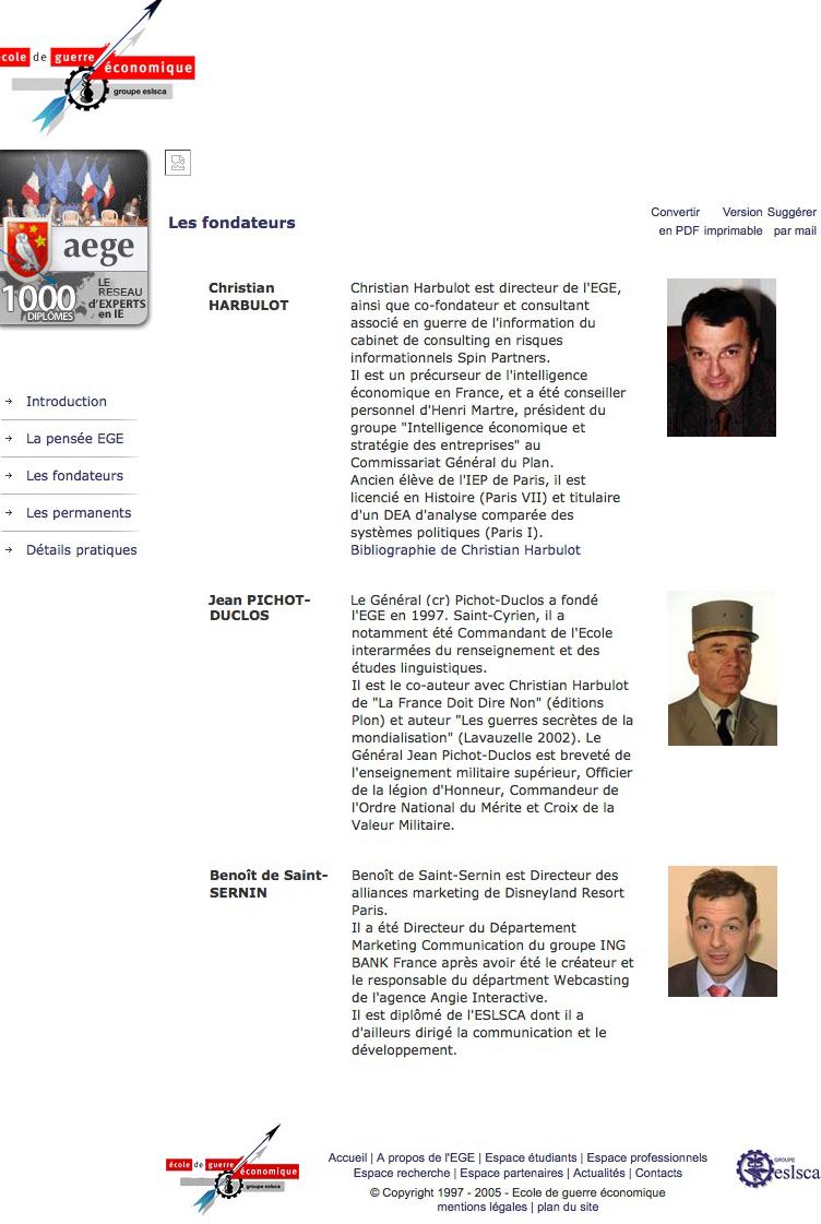 Les fondateurs de L'EGE